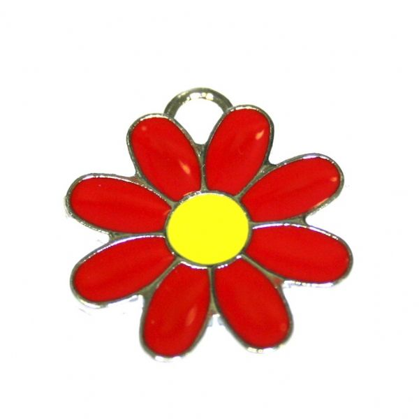 1 x 22*22mm rhodium plated red daisy with yellow bud enamel charm - SD03 - CHE1287